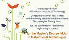 Congratulates for the Master's Degree (M.A.) in Instructional Technologies